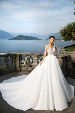 Gorgeous Long Chapel Train A Line Satin Wedding Dresses with Sheer Long Sleeves Crew Neckline La ...