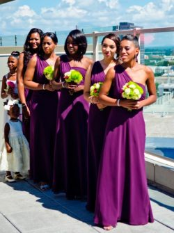 Dark Purple A Line Chiffon Summer Beach Bridesmaid Dresses Long One Shoulder Backless Floor Leng ...