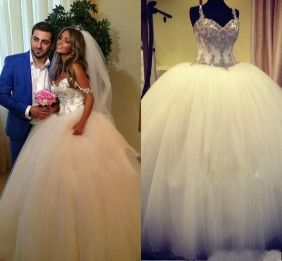 Gorgeous Spaghetti Straps Princess Ball Gown Wedding Dresses Sequin Beaded Floor Length Puffy Tu ...