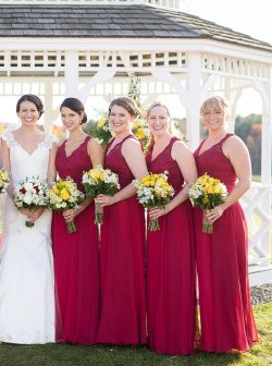 Hot Sale Red Chiffon A Line Long Bridesmaid Dresses V Neck Lace Top Floor Length Summer Beach Pr ...