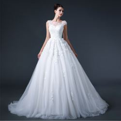 Best Selling Crew Neckline A Line Wedding Dresses Cap Sleeves Lace Appliques Sequins Tulle Skirt ...