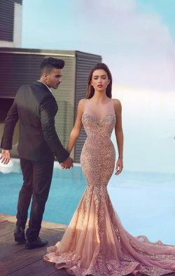 Gorgeous Sequins Beaded Lace Appliques Pink Mermaid Prom Dresses Crew Sheer Neckline Sleeveless  ...