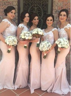 Hot Sale Off the Shoulder Long Bridesmaid Dresses Lace Appliques Backless Sheath Evening Gown