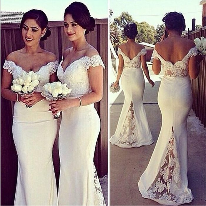 2018 Hot Sale Sexy Mermaid Bridesmaid Dresses Off the Shoulder Lace Backless Evening Gown