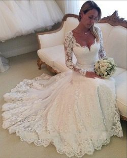 Vestidos de novia Long Sleeves Sheath Wedding Dresses V Neck Lace Arabic Bridal Gown
