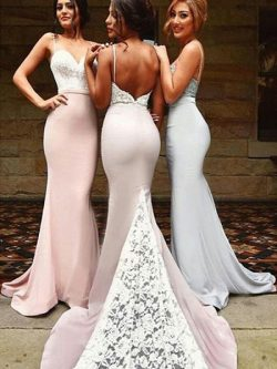 Sexy Spaghetti Straps Sheath Long Bridesmaid Dresses Backless Lace Sweep Train Slim Prom Gown