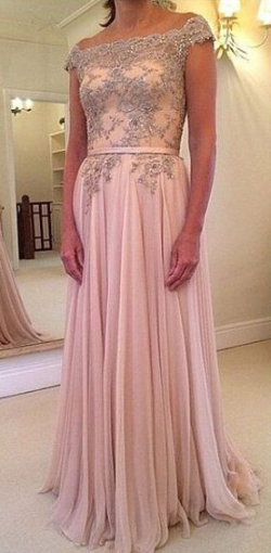 Flowing Chiffon A Line Off the Shoulder Formal Evening Dresses Sequins Beaded Floor Length Prom Gown