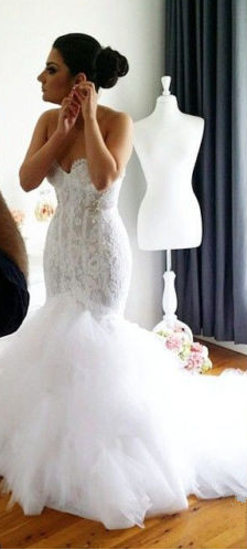 Hot Sale Sexy Sweetheart Mermaid Wedding Dresses Lace Appliques Backless Sequins Beaded Layered  ...