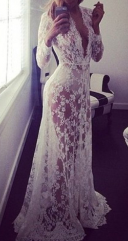 Sexy See Through Lace Sheath Wedding Dresses with Long Sleeves Plunging V Neck Bridal Gown