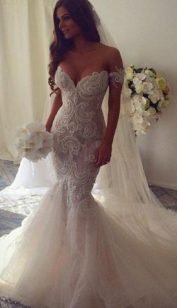 Exquisite Lace Appliques Mermaid Wedding Dresses Off the Shoulder Backless Court Train Bridal Gown