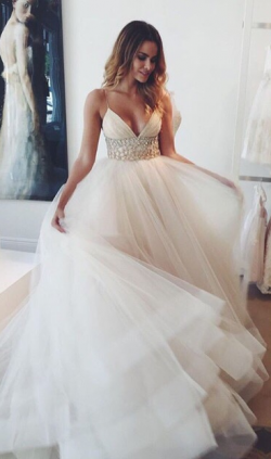 Romantic Tulles A Line Wedding Dresses Spaghetti Straps Backless Sequins Beaded Summer Beach Bri ...