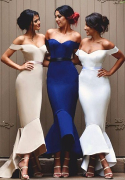 Elegant Off the Shoulder Mermaid Bridesmaid Dresses Long Backless Hi-lo Prom Gown