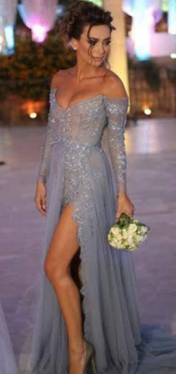 Glamorous Long Sleeves Tulles A Line Formal Evening Dresses Strapless Sexy Sequins Beaded Split  ...