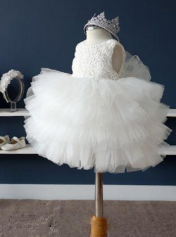 Cute White Tutu Skirt Princess Ball Gown Wedding Flower Girls' Dresses Lace Crew Neckline  ...