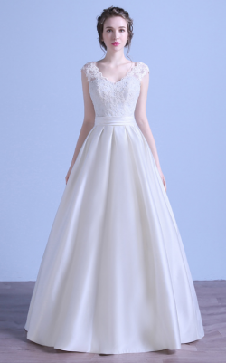 Elegant Cap Sleeves A Line Satin Wedding Dresses Lace Appliques V Neck Backless Bridal Gown