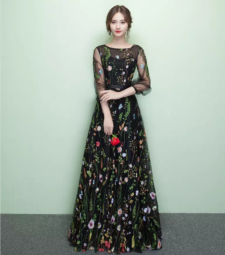 Fairy Style Embroidery Colorful Flowers A Line Evening Dresses Floor Length Crew Neckline Long S ...