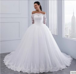 Glamorous Lace Long Sleeves Ball Gown Wedding Dresses Bateau Puffy Tulle Skirt Court Train Brida ...