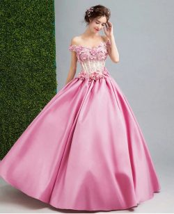 Glamorous Pink A Line Satin Prom Dresses Handmade Flowers Sexy Off the Shoulder Floor Length Eve ...