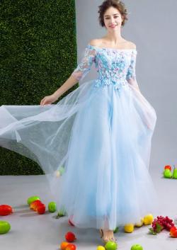 Fairy Light Sky Blue Tulles A Line Prom Dresses Colorful Flowers Bateau Half Long Sleeves Evenin ...