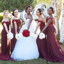 Burgundy Backless Off Shoulders Mermaid Bridesmaid Dresses Sweetheart Beaded Lace Bodice Formal  ...
