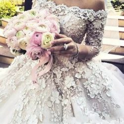 Cinco Castle Church Wedding Dresses A Line Off the shoulder with Long Sleeve 3D Floral Lace Cath ...