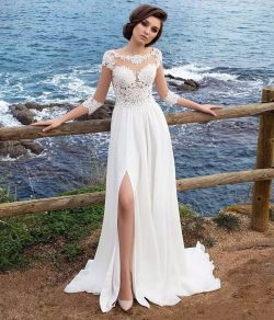 3/4 Long Sleeves Beach Bohemian Wedding Dresses 2018 Chiffon Scoop Neck Appliques Long Bridal Go ...