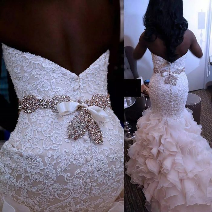 African Mermaid Wedding Dresses With Sash Beads Pearls Sweetheart Plus Size Wedding Dress Ruffle ...