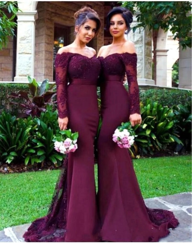 2018 Lace Applique Off-Shoulder Long Sleeve Mermaid Bridesmaid Dresses Sexy Evening Prom Dress G ...