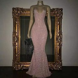 Bling Bling Mermaid Prom Dresses Halter Neck Floor Length Backless Sexy Formal Evening Party Gow ...