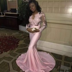Pink Mermaid Black Girl Long Prom Dresses 2018 Long Sleeves Sexy V Neck Sheer Bodice African Pro ...