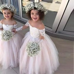Pink Princess Ball Gown Flower Girls Dresses Sheer Neck Tulle Long Sleeves Appliques Lace Toddle ...