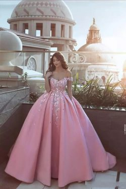 Pink Said Mhamad Evening Dresses Ball Gown Handmade Flowers Off Shoulder Court Train Formal Prom ...