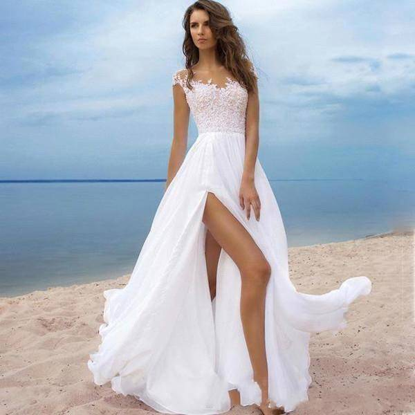 Beach Wedding Dresses A Line Sheer Neck Cap Sleeve Floor Length Bridal Gowns With Lace Chiffon H ...