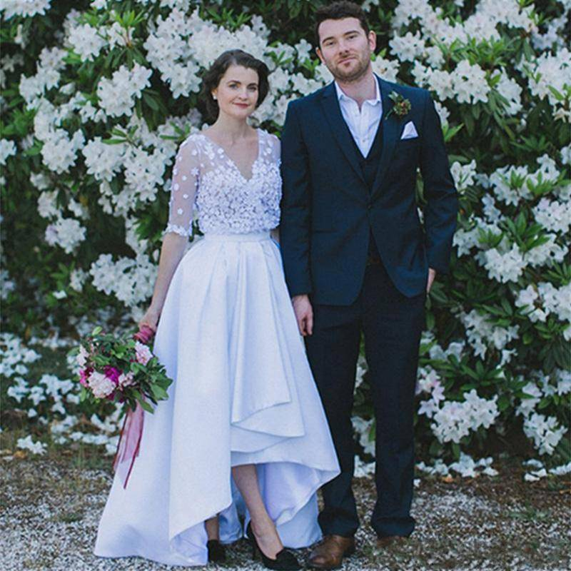 Charming V Neck Sheer Sleeves Wedding Dresses Satin A Line High Low Bridal Gowns Country Wedding ...