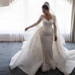 Detachable Train Sheath Wedding Dresses Bridal Gown Long Sleeves Exquisite Applique Sheer Neck T ...