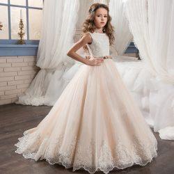 Elegant Lace Appliques Sequins Beaded Flower Girls' Dresses A Line Tulles Crew Neck Girl&# ...