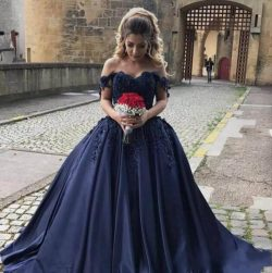 Elegant Navy Blue V-Neck Prom Dresses Lace Applique With Sweep Train Formal Evening Dresses Wear ...