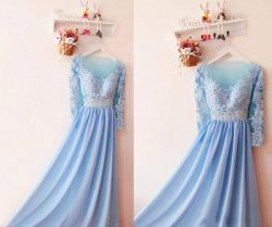 Elegant Sky Blue Sequins Chiffon Bridesmaid Dresses New Cheap A Line Long Sleeves 2018 Arabic Pr ...