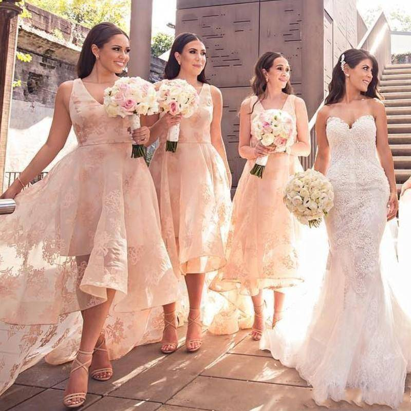 Fashion High-Low Style Bridesmaids Dresses V-Neck Lace Applique Wedding Party Dress Sexy See Thr ...