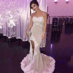 Glamorous Mermaid Spaghetti Straps Evening Dresses Vintage Arabic Long Side Split Appliques Swee ...