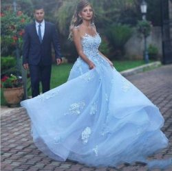 Gorgeous A Line Light Sky Blue Evening Dresses Formal with Lace Appliques Flowers Sheer Backless ...