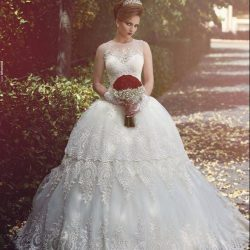 Graceful Tiered Lave Skirts Ball Gown Wedding Dresses Vintage Sheer Crew Neck Illusion Back Lace ...