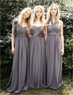 Gray Chiffon A Line Convertible Long Bridesmaid Dresses