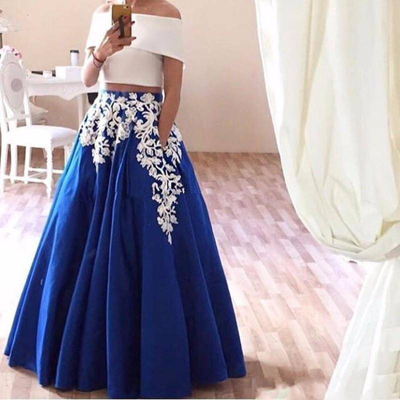 Lace Appliques Two Piece Prom Dresses Boat Neck Satin Arabic Evening Dress Elegant Royal Blue Pa ...
