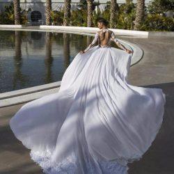 Lace Backless Wedding Dresses Sheer Neck Illusion Long Sleeve Chiffon Over Skirt Beach Bridal Go ...