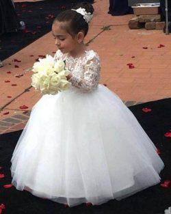 Lovely Flower Girl Dresses Ball Gown Jewel Long Sleeve Floor Length Girls Pageant Dresses With L ...