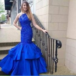 Luxurious Blue Sexy Mermaid Evening Dresses Halter sleeveless Lace Applique Beaded With Ruffle T ...