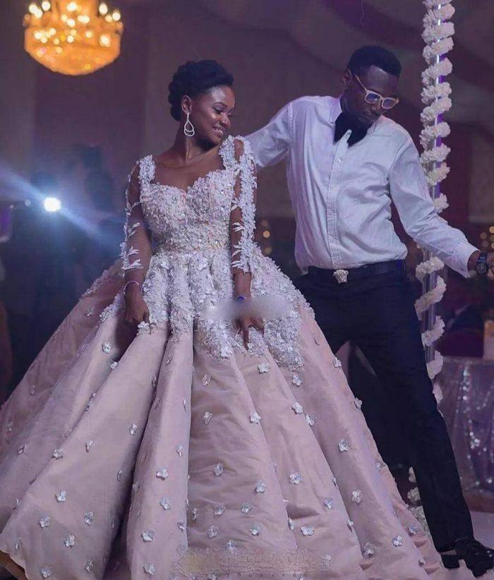 Luxury 3D Flora Flowers Ball Gown Wedding Dresses Princess Style Blush Pink Sheer Crew Long Slee ...