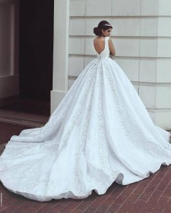 New White Ivory Arabic Lace Wedding Dresses A Line Square Neck Appliques Beads Sequins With Long ...