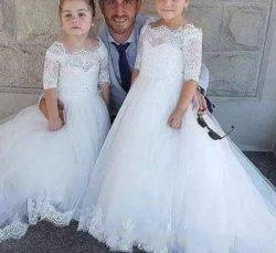 Princess Flower Girl Dresses A Line Bateau 1/2 Sleeve Girls Pageant Dresses With Lace Applique F ...